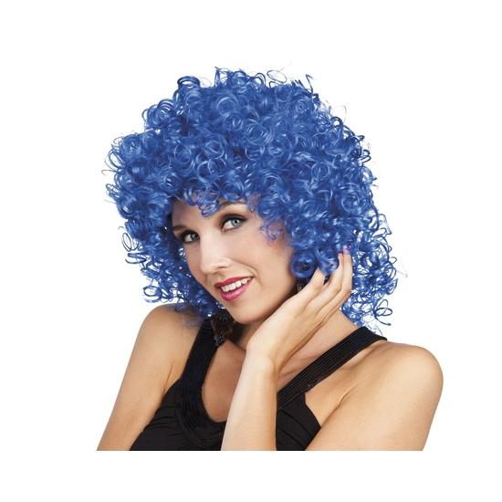 Blauwe afropruik met volle krullen