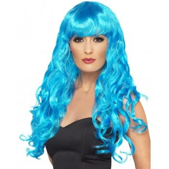 Blauwe dames krullen pruik