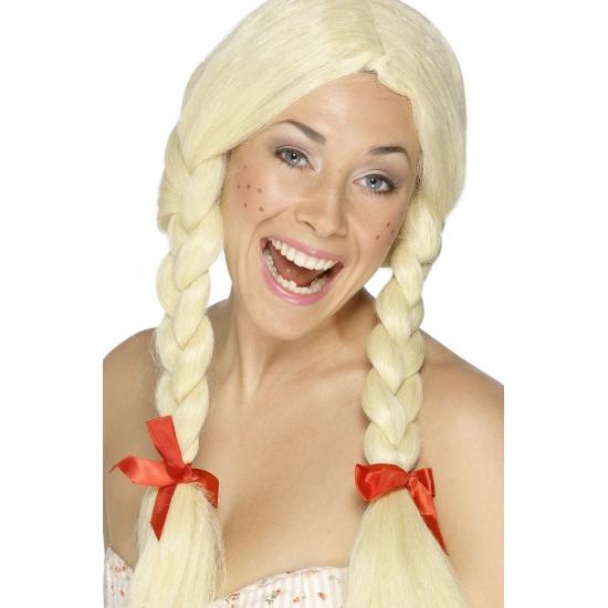 Blonde heidi pruiken