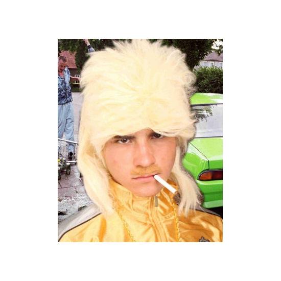 Blonde herenpruik met mat