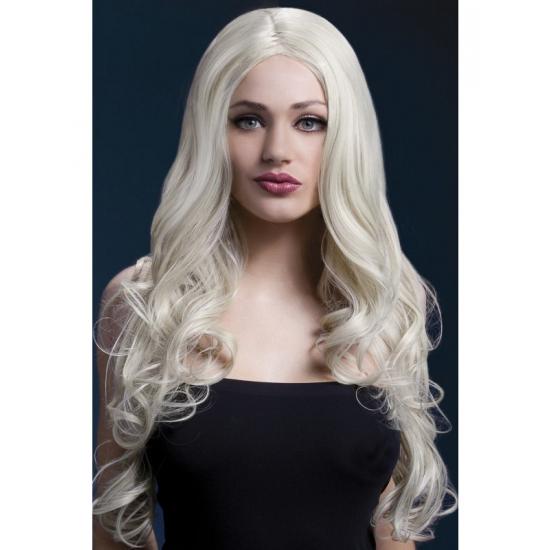 Blonde pruik met krullen om zelf te stylen