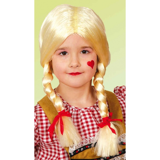 Blonde pruik voor kids met vlechtjes