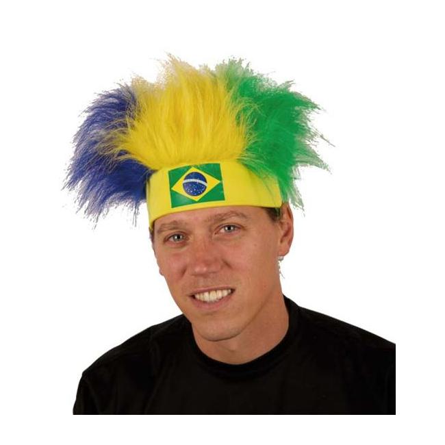 Brazilie fan haarband met pruik