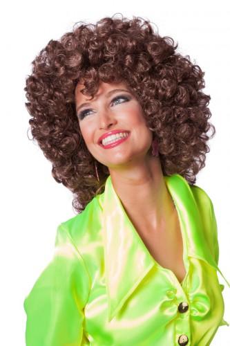 Bruin afro krullen pruik voor dames