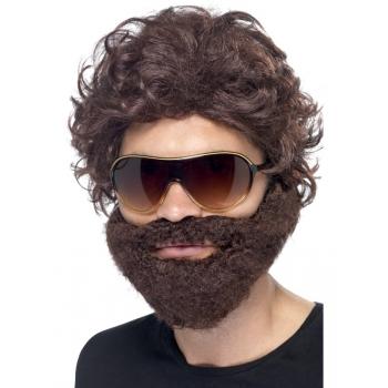 Bruine baard met pruik en zonnebril