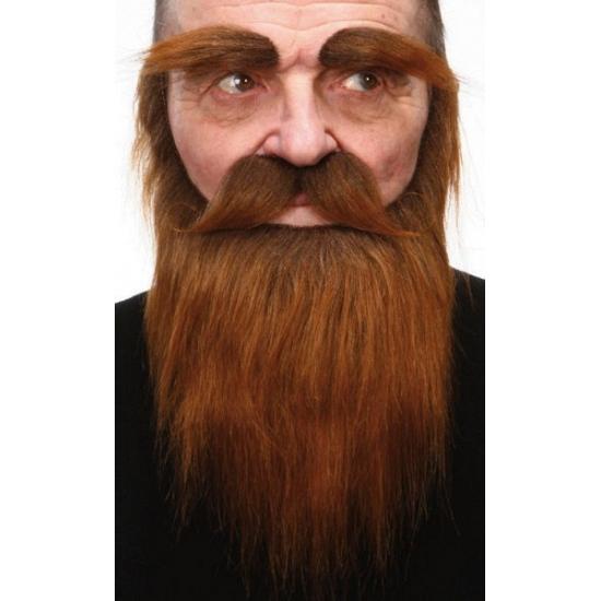 Bruine baard, snor en wenkbrauwen