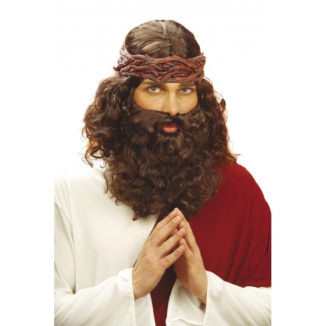 Bruine Christus pruik met baard