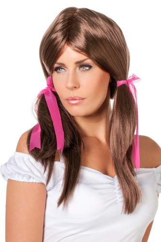 Bruine Heidi pruik met roze strikjes