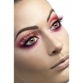 Carnaval wimpers roze met zwart