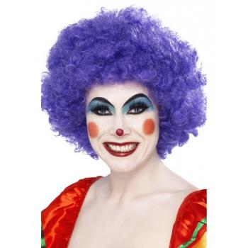 Crazy clown pruik paars