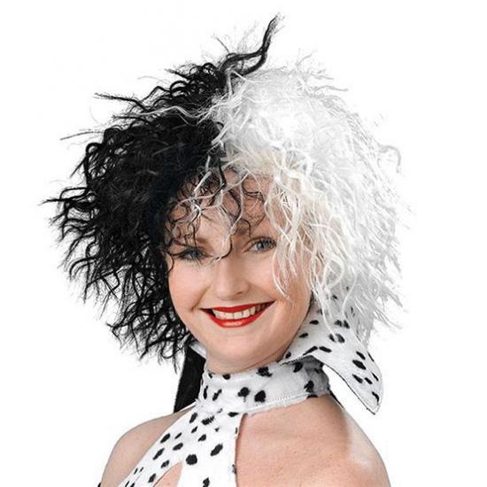 Cruella pruik zwart met wit