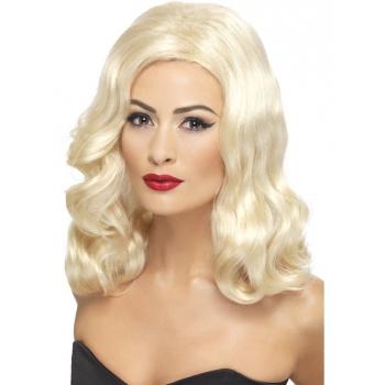 Dames pruik met blond golvend haar
