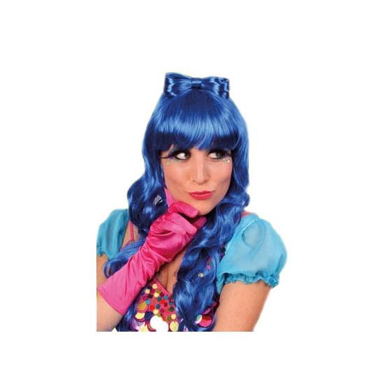 Damespruik blauw met strik op het hoofd