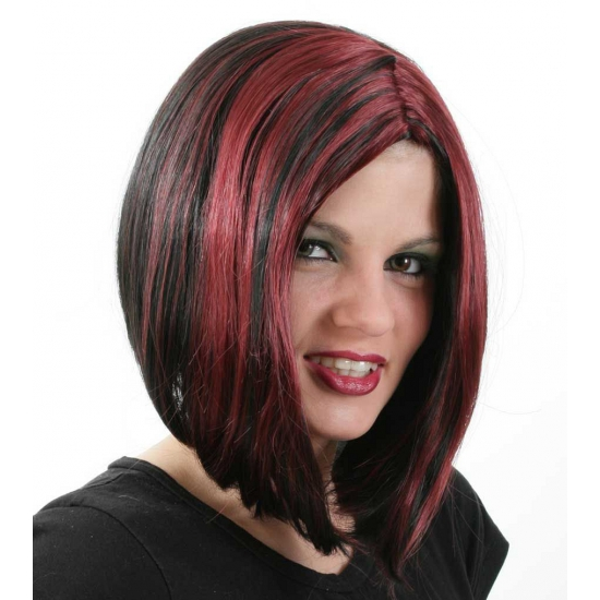 Damespruik in bob model zwart/rood