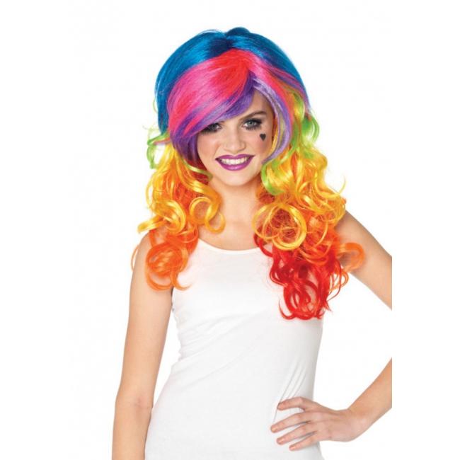 Damespruik met multi color haar