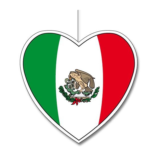 Decoratie hart met Mexicaanse vlag 30 cm