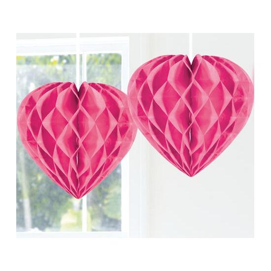 Decoratie hart roze 30 cm