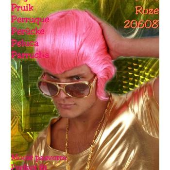 Elvis Presley pruik in het fel roze