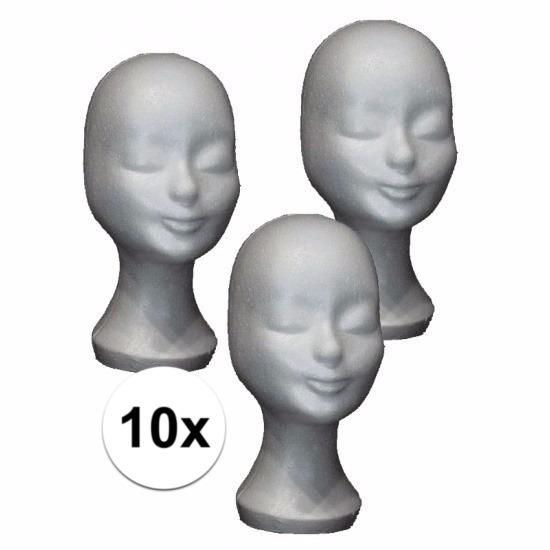 Etalage materiaal paspop hoofden wit 10x