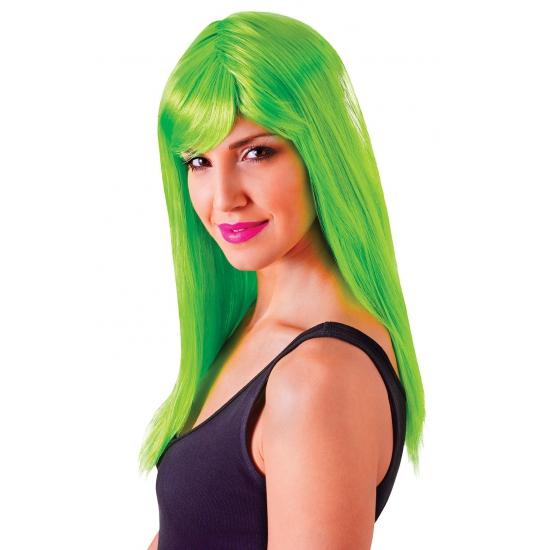 Feest damespruik neon groen met pony