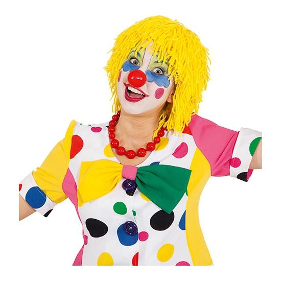 Gele clownspruik met touwtjes
