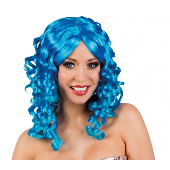Glamour krullen pruik blauw