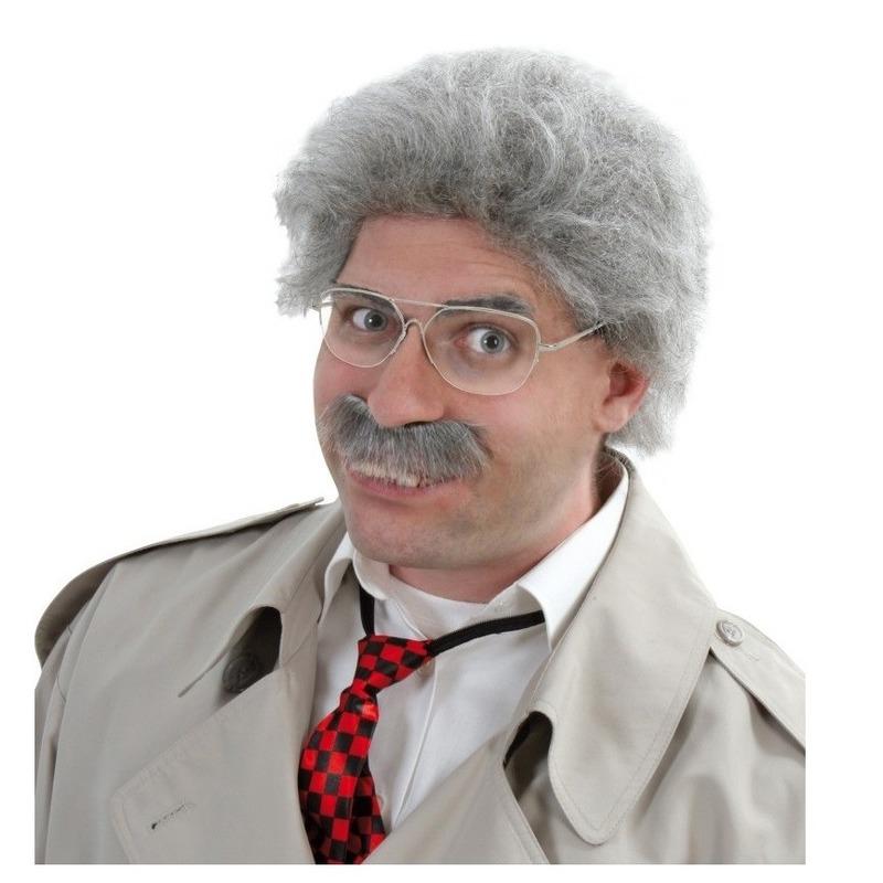 Grijze oude man pruik met snor