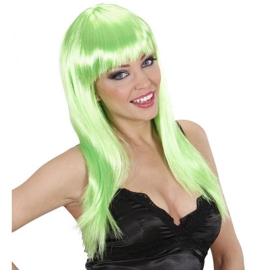 Groene pruik met lang stijl haar