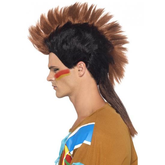 Indianen heren pruik met hanekam
