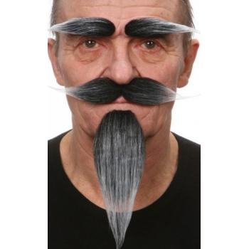 Kostuum set grijs snor, baard en wenkbrauwen