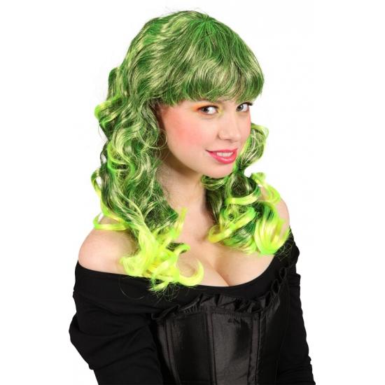 Krullende pruik met groen haar