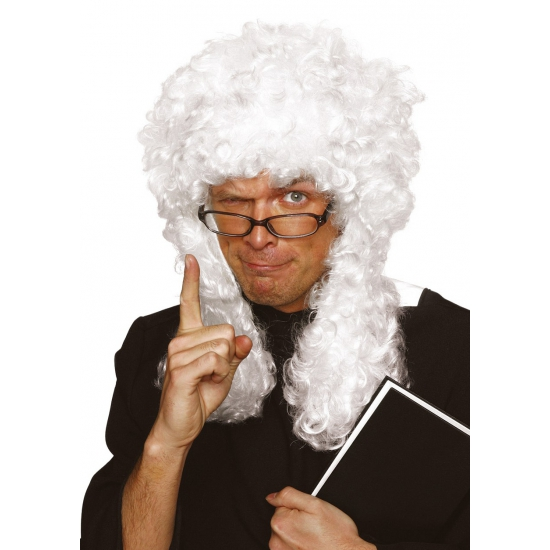 Krullende rechter pruik wit