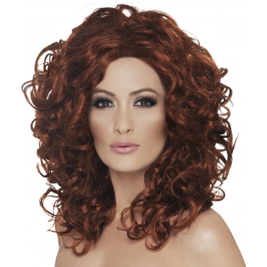 Krullenpruik dames met rood haar