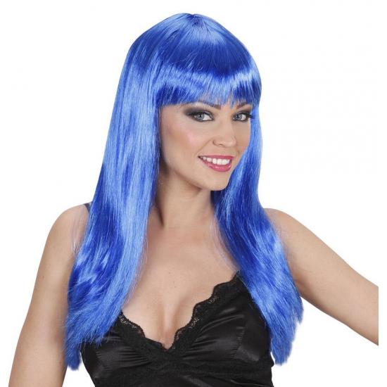 Lange blauwe pruik met pony