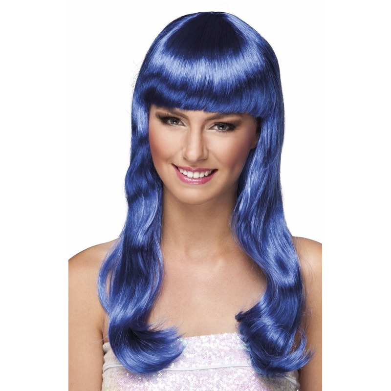 Lange dames pruik blauw
