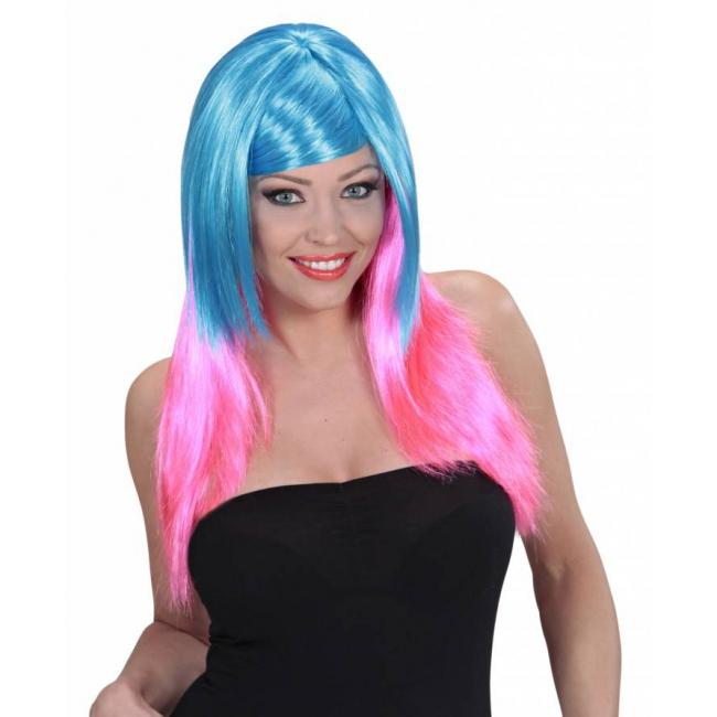 Lange damespruik blauw roze haar