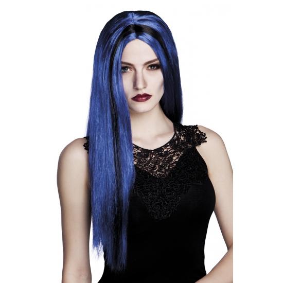 Lange heksenpruik blauw/zwart stijl