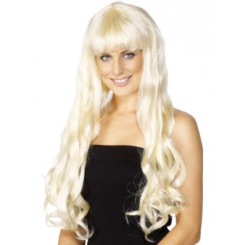 Lange krullende damespruik blond