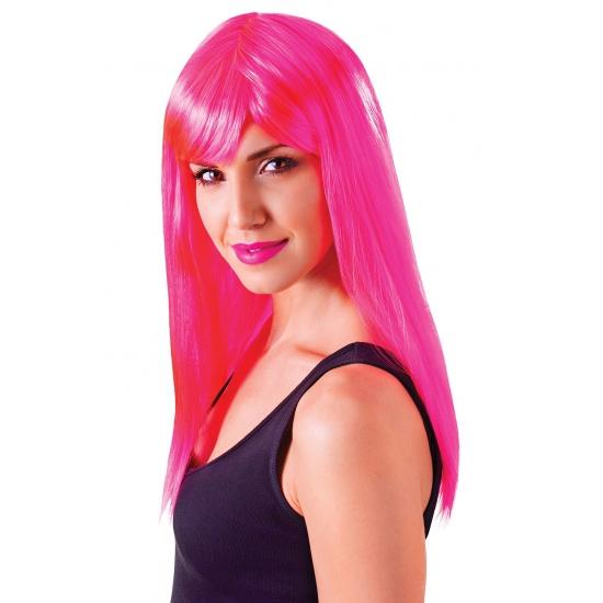 Lange neon roze damespruik met pony