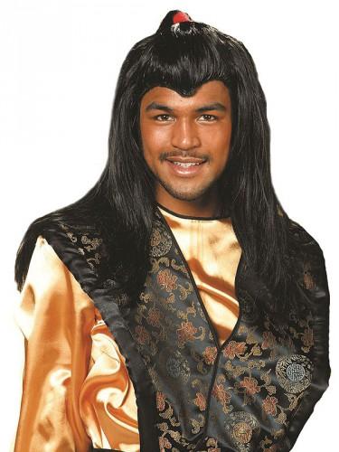 Lange pruik met zwart haar voor mannen