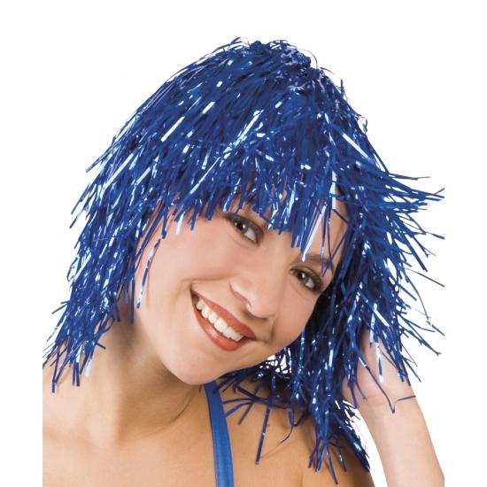 Lurex pruik blauw