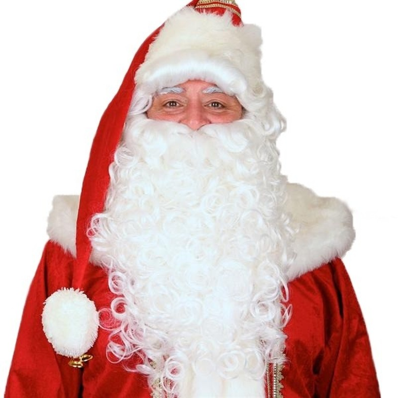 Luxe Kerstman pruik met baard