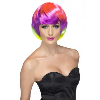 Neon gekleurde damespruik kort
