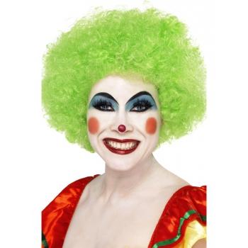 Neon groen clown pruik