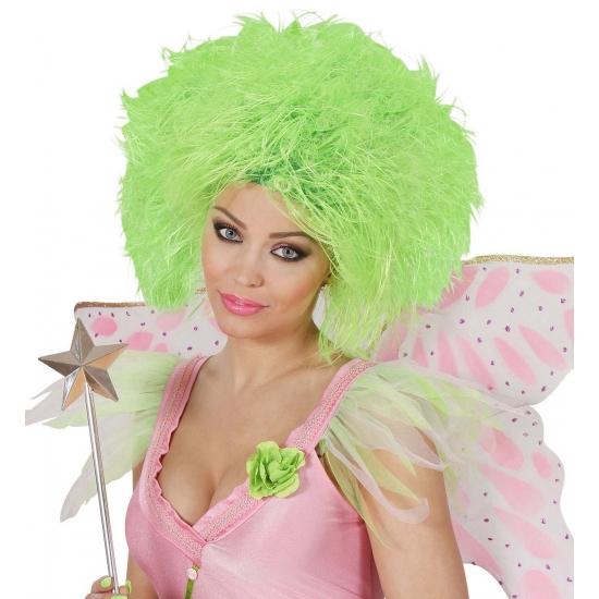 Neon groene dames pruik met kort haar