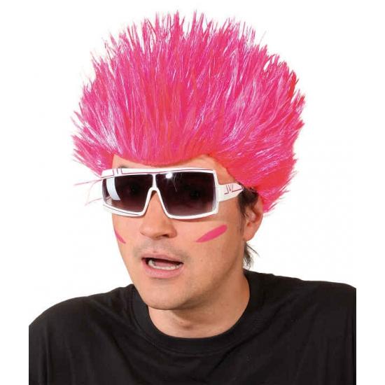 Neon roze spike pruik