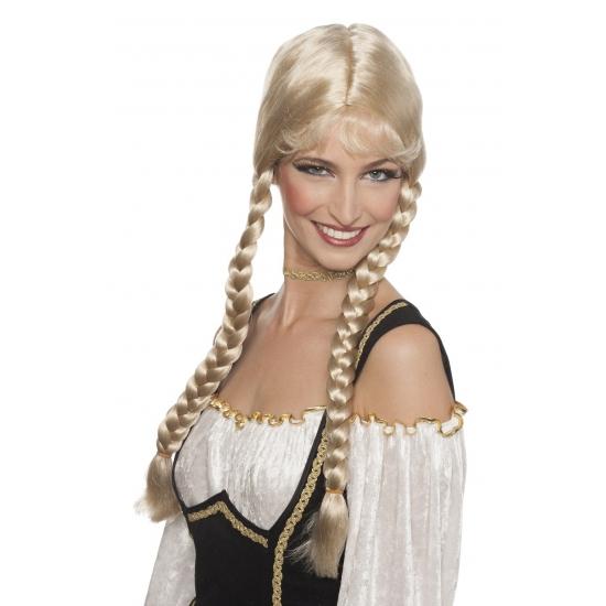 Oktoberfest Blonde Heidi pruik met pony