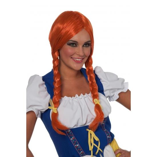 Oktoberfest Rode damespruik met lange vlecht