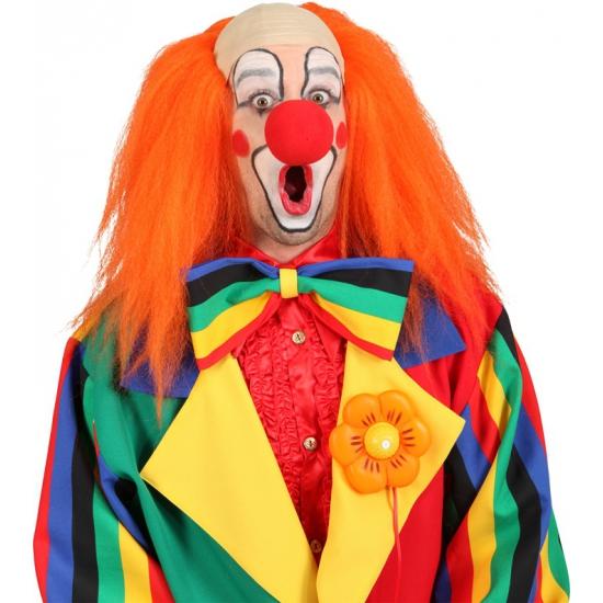 Oranje clown pruik