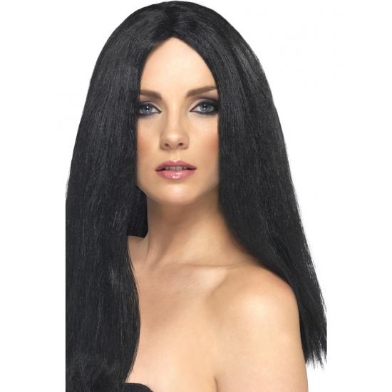 Pruik met lang zwart haar